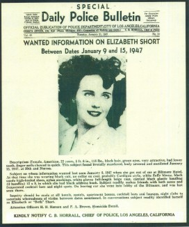 Bulletin d'avis de recherche pour Elizabeth Short