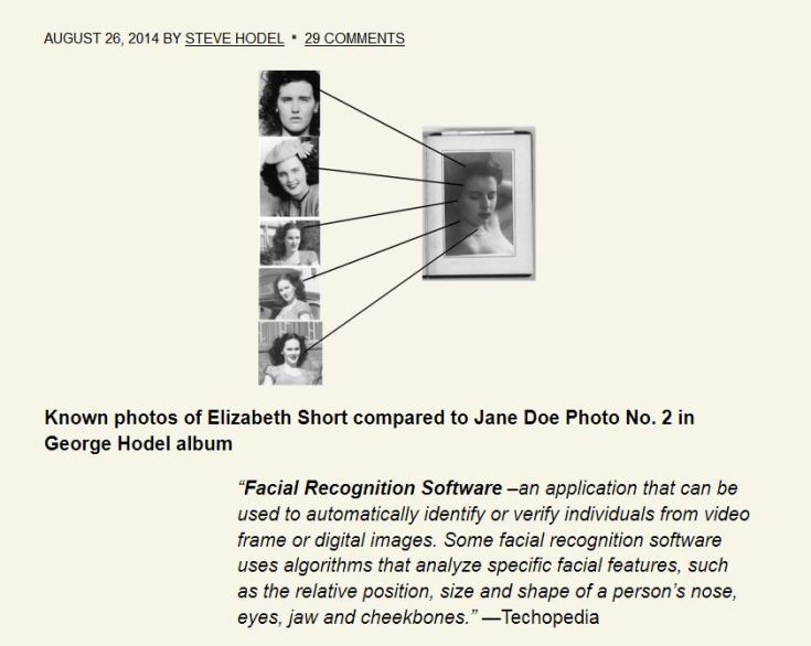 Comparaisons biométriques de l'inconnue de l'album phot de GHH et des portraits d'Elizabeth Short