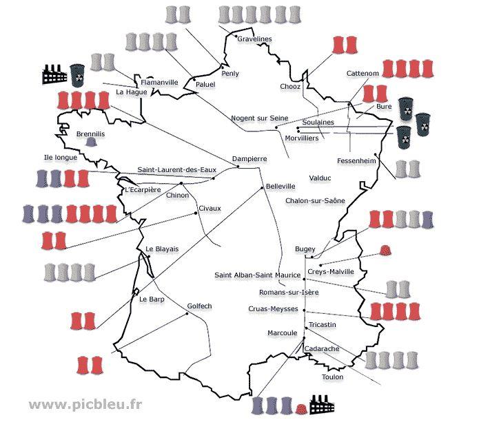 carte France nucléaire